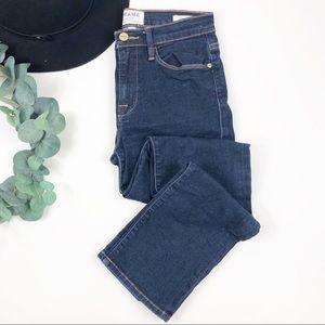 FRAME   Dark Wash Le High Straight Jeans High Rise